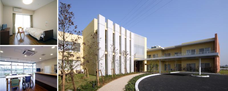 病院外観、病室